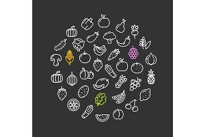Vegetables Food Shop Round Design