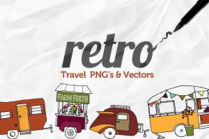 Hand Drawn Retro Travel Objects