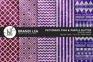 Pink & Purple Glitter Digital Paper