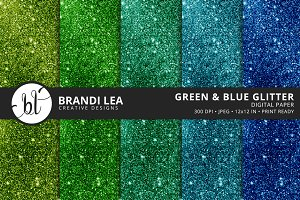 Green & Blue Glitter Digital Paper