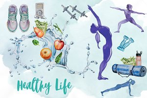 Watercolor Healthy Life Clipart