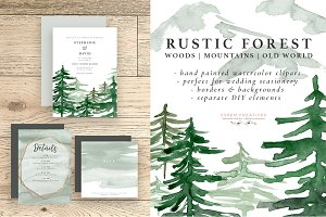 Rustic Forest Watercolor Backgrounds