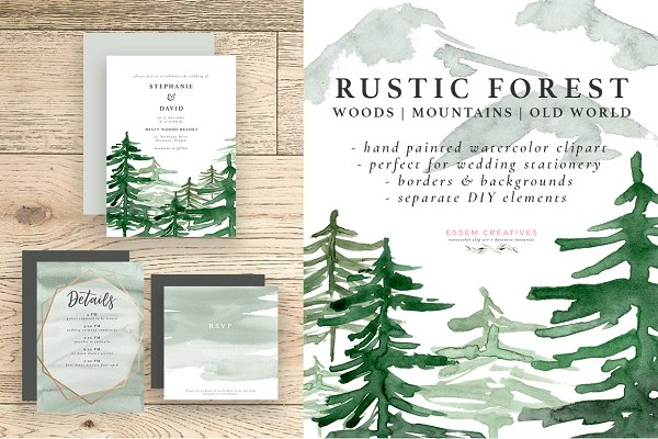 Rustic Forest Watercolor Background…