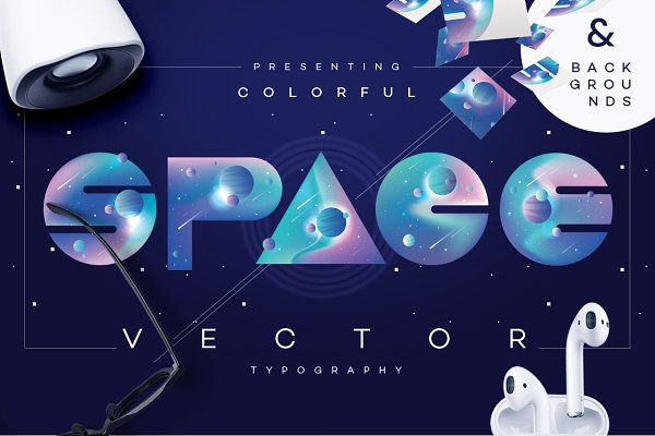 Symbol Fonts: Polar Vectors - Colorful Space-vector typography