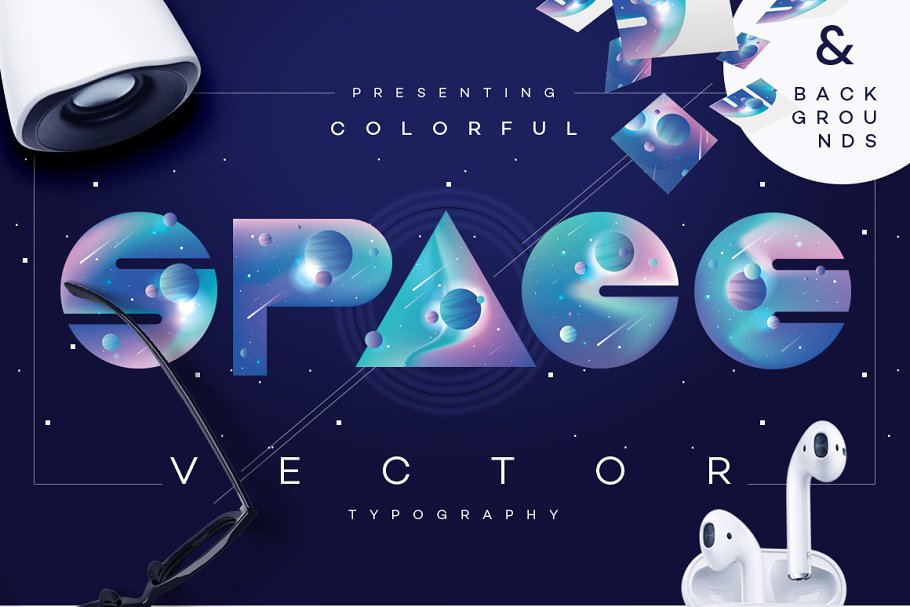 Colorful Space-vector typography ~ Symbol Fonts ~ Creative Market