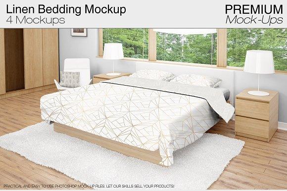 Linen Bedding Mockup Set