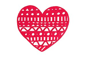 Doodle red lace heart ink line art