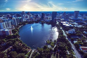 Aerial view of Lake Eola Orlando