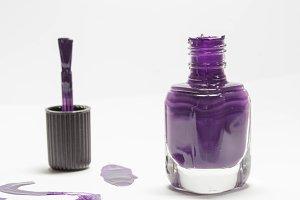 Open bottle of nail polish