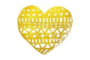 Doodle golden lace heart ink art