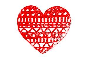 Doodle lace heart line art vector