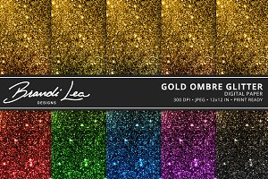 Gold Ombre Glitter Digital Paper