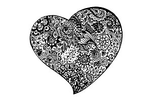 Zentangle doodle ink heart vector