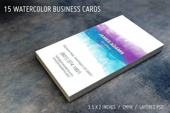 15 watercolor business cards business card templates creative market colourmoves
