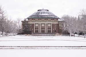Foellinger Auditorium in Winter