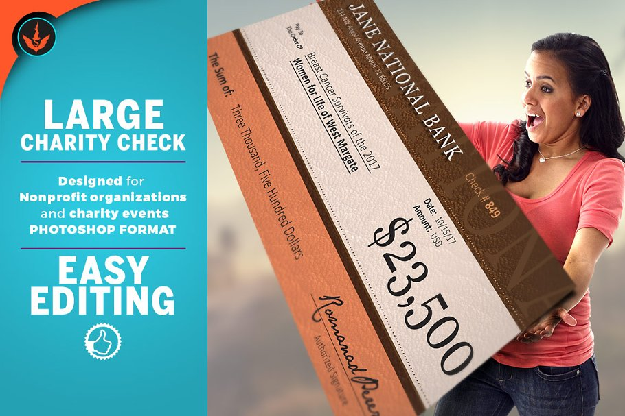 Large Format Leather Charity Check
