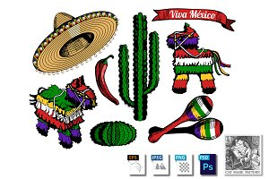 Mexican objects set