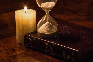 Bible, Candle & Hourglass