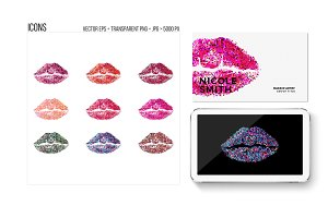 Lipstick kiss print vector icons.