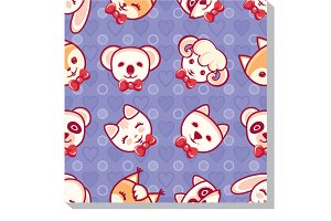 Cute Animal. Seamless pattern.