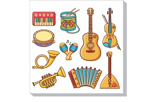 Musical instruments. Cartoon