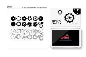 Industrial Gears, cogwheels, icons.
