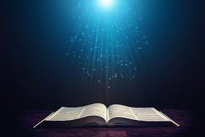 Light illuminating the Bible