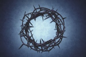 Crown of Thorns on a blue background