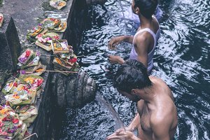BALI, INDONESIA - MAY 5, 2017: Holy Spring Water Tirta Empul Hindu Temple , Bali Indonesia.