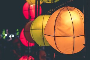 Hanging lanterns on a light festival on Bali island, Indonesia.