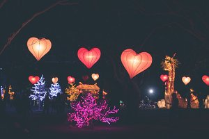 Hanging lanterns heart shape on a light festival on Bali island, Indonesia.