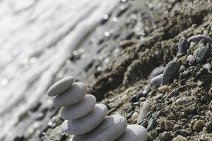 Stacked sea stones