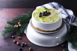 New Year white mousse cake