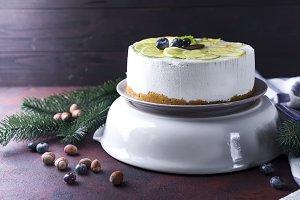 New Year white mousse cake