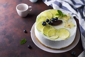 Lemon yogurt mousse cake