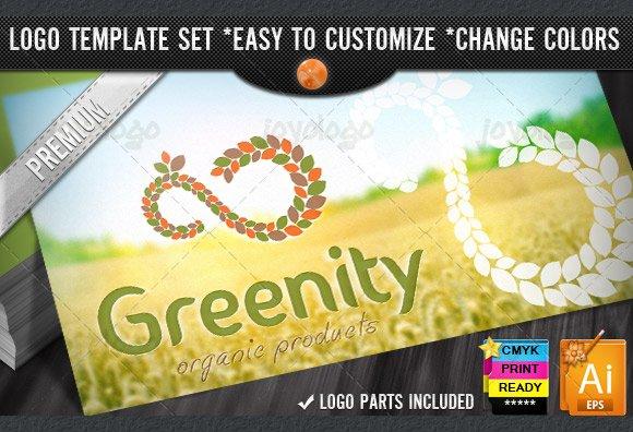 Eco Green Pixel Leafs Infinity Logo