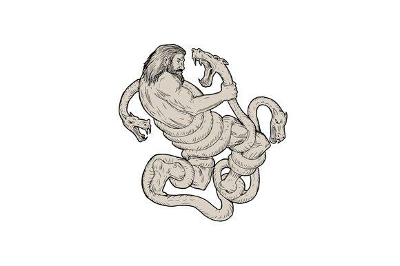 Hercules Fighting Lernaean Hydra