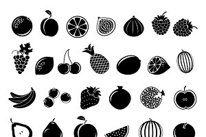 Black fruit icons