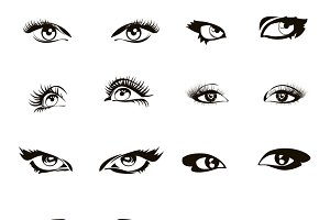 Woman eye set vector
