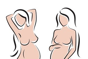 Pregnant nude woman silhouettes