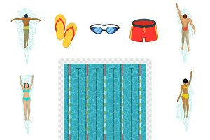 Swimming activity flat icons
