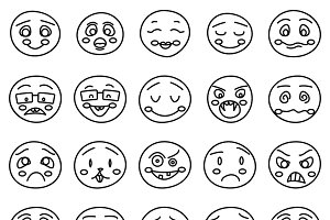 Hand drawing of emoticons