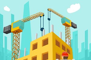 Building construction 3d concept