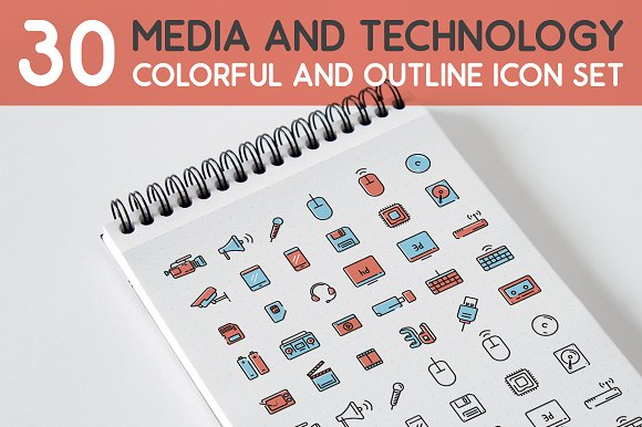 30 Media And Technology Icon Set