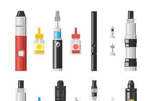 Vaping flat icons