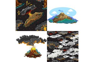 A set of volcanoes of varying degrees of eruption, a sleeping or awakening dangerous vulcan, salute from magma ashes and smoke fly out from volcano, lava flowing down the mountain vector illustration
