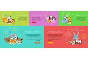 Animal Carnival. Collection of Cartoon Face Masks.