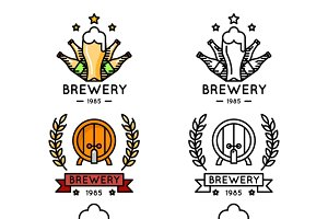 Beer thin line logo set
