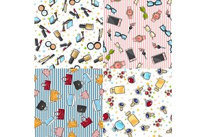 Big Set of Fashion Objects Seamless Pattern
