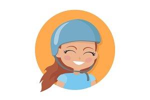 Smiling Girl in Blue Helmet. Simple Cartoon Style